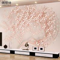 客厅沙发电视背景墙玫瑰金花墙纸大型壁画无缝墙布壁纸粉色背景墙