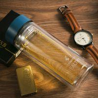 华亚玻璃杯带盖透明双层耐热水杯子男女士便携创意泡茶杯HL33-300