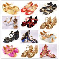 女童拉丁舞蹈鞋儿童中高跟跳舞鞋子幼儿公主鞋女孩软底国标鞋成人
