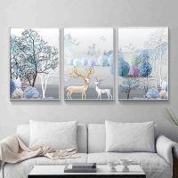 十字绣2018客厅线绣新款简约现代大幅发财麋鹿欧式三联画刺绣满绣