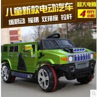 新款悍马儿童电动汽车四开门可坐双排座遥控摇摆越野玩具超大