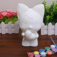 厂家批发搪胶DIY陶瓷彩绘公仔非石膏娃娃白坯涂色白胚手工玩具