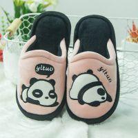 卡通熊猫绒面棉拖鞋女2018冬季新款家居室内防滑保暖亲子儿童棉鞋