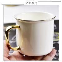 唐山奥美厂家批发陶瓷复古杯 骨质瓷小号仿搪瓷杯子