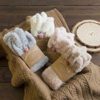 冬季可爱立体卡通袜兔子加厚保暖女士中筒睡眠珊瑚绒地板袜