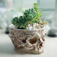 厂家直供 新款树脂植物草花盆 创意室内骷髅头型盆栽工艺摆件批发