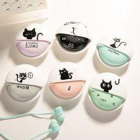 0689 韩版可爱创意女生猫咪入耳式手机线控耳机通用 带耳机盒带麦