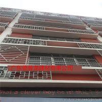 仿木色铝合金花窗定做厂家 学校学生宿舍楼外墙铝花格