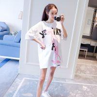 孕妇装宽松时尚大码T恤2018夏装新款短袖上衣韩版中长款短袖T恤衫