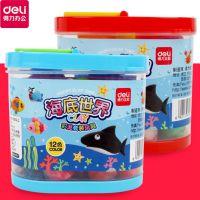 得力6473金鱼缸海底世界系列彩泥套装24色儿童橡皮泥彩泥带模具