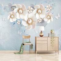 客厅电视背景墙壁纸3D珍珠唯美花卉蓝色无缝大型壁画定制绢丝墙布