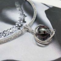 时尚女款大溪地黑珍珠吊坠 11-12mm 正圆强光 配高端施华洛水晶链