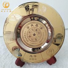 上海企业十周年纪念牌,服务年满10周年礼品,纯铜纪念盘定制