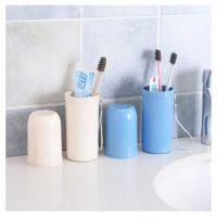 小麦秸秆防菌洗漱杯便携式牙具盒牙刷牙膏收纳盒旅行刷牙杯漱口杯