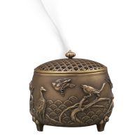 熏风南来纯铜香炉佛堂家用室内檀香炉紫铜石镶嵌可定制