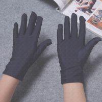 春秋夏季薄款白色礼仪手套黑弹力紧身氨纶手套男女运动会体操表演