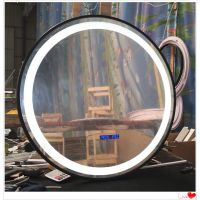 跨境货源定制 圆形铁艺包边智能镜 浴室柜配套led灯镜子
