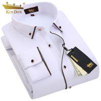 KIN DON/金盾冬季男士加绒保暖长袖衬衫金边修身商务休闲方领衬衣