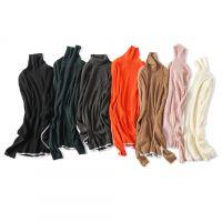 18冬季新品 美炸啦!撞色拼接网纱 高领弹力修身羊毛针织打底衫女