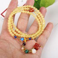 天然原创蜜蜡圆珠佛珠手链  女式琥珀金绞新密蜜蜡搭配南红青金石