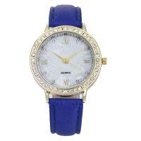 休闲日内瓦女士皮革带手表 镶钻手表女性时装表皮带石英手表批发