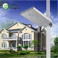 新款80W太阳能壁装路灯一体化红外感应太阳能路灯6米高杆灯厂家
