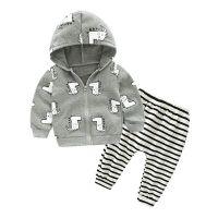 童装一件代发 男童纯棉休闲套装 恐龙印花外套条纹裤子两件套