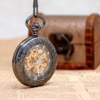 经典复古翻盖ebay爆款放大镜罗马古董礼品雕花机械怀表 项链砣表