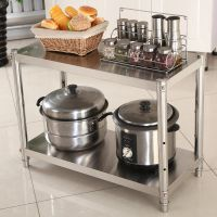 不锈钢厨房置物架2层家用微波炉架烤箱架橱柜收纳整理落地双层架