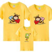 六一活动小蜜蜂亲子装T恤上衣幼儿园活动班服家庭装三口四口亲子