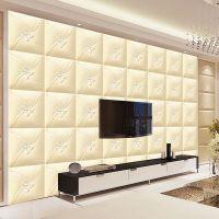 欧式奢华仿真皮革3D电视背景墙壁纸简约卧室客厅软包墙纸加厚立体