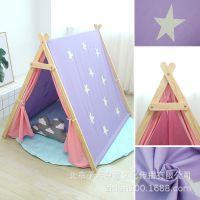 人字形儿童帐篷夜光星星游戏屋棉布室内玩具三角帐篷三色厂家批发