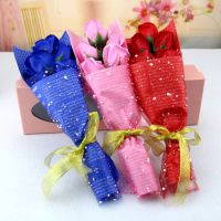 5朵创意仿真玫瑰花肥皂花精美浪漫节日礼品香皂花礼盒加工定制批