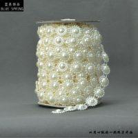 【新品热销】VX30仿珍珠装饰 优质不褪色棉线连线珠 服装箱包配件