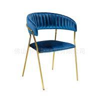 北欧不锈钢镀金餐椅 现代简约布艺书房椅 创意单人扶手休闲椅
