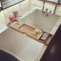 浴缸架竹制浴室伸缩式板架多功能收纳架木桶支架子浴缸泡澡置物架