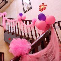 婚房装饰拉花浪漫结婚婚礼扶手楼梯场景布置纱幔纱球婚庆用品