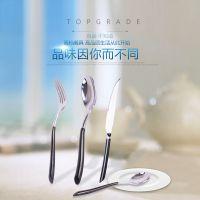 不锈钢西餐牛排餐具套装 西餐刀叉两件套三件套 黑手柄牛排刀叉勺