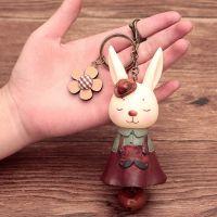 厂家直销卡通可爱MISS兔子公仔情侣钥匙扣汽车皮绳钥匙链包包挂件