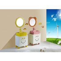 批发幼儿园儿童专用浴室柜卡通柜盆组合镜子彩色陶瓷洗手盆台上盆