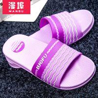 漫埠新款凉拖鞋 夏季PVC条纹户外塑料拖鞋 男女防滑一字拖鞋批发