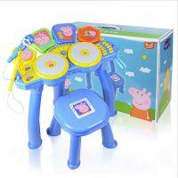 正版小猪佩奇仿真架子鼓套装乐器打击爵士鼓配凳子婴幼儿乐器玩具