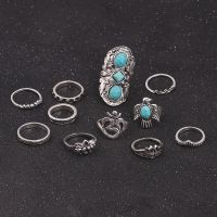 D0316 速卖通新品 复古雕花绿松石3D小鸟11件套关节戒指套装