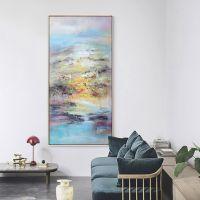纯手绘大幅现代油画山水艺术画抽象玄关客厅挂画背景墙装饰画壁画