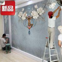 一件代发美式创意床头电视背景墙壁纸客厅无纺布墙纸卧室大型壁画