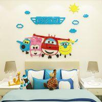 超级飞侠儿童房间卧室卡通床头幼儿园墙面装饰3d立体亚克力墙贴画