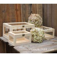 zakka收纳盒木盒玻璃盒子/玻璃盖子 四周玻璃 创意木箱子