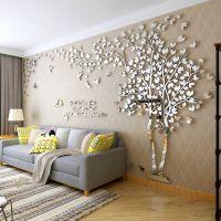 镜面情侣树创意3D水晶亚克力 可定做立体墙贴客厅电视背景墙画