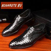 厂家直销 BOGARETE BV品牌男鞋专柜正品 新款编织皮鞋男真皮圆头