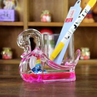 天鹅创意笔筒 油漏漂浮滴 透明亚克力摆件笔插同学朋友生日礼物